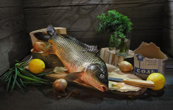Картинка стакан, доски, рыба, лук, укроп, нож, лимоны, соль, засолка, Сергей Фунтовой