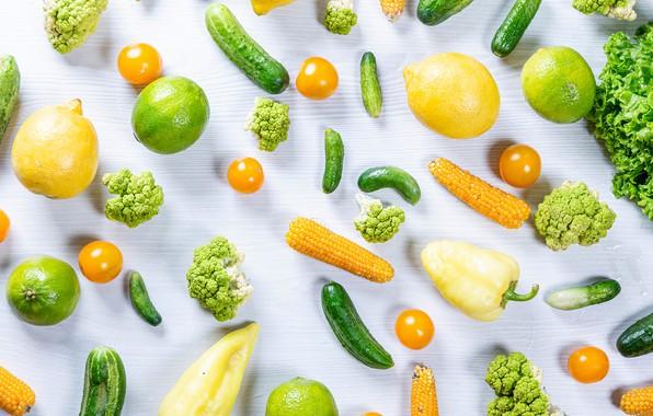 Картинка кукуруза, овощи, помидоры, лимоны, огурцы