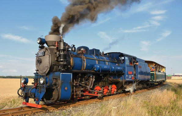 Картинка ретро, дым, паровоз