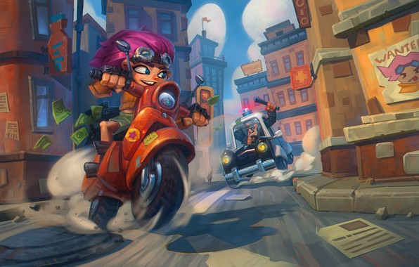 Картинка город, улица, игра, полиция, погоня, ситуация, арт, Igor Arkhipov, Angry policeman