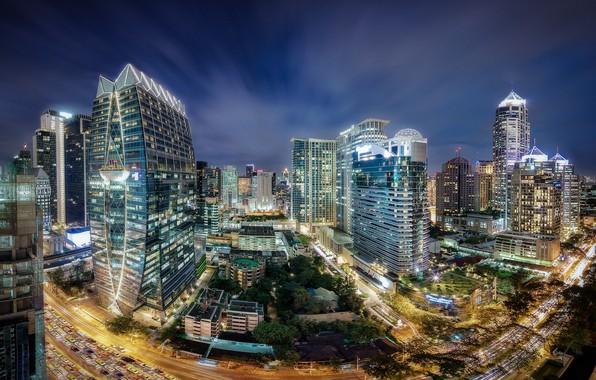 Картинка ночь, город, огни, Таиланд, Бангкок