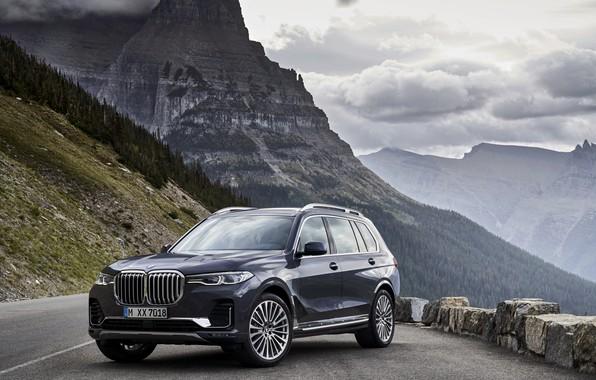 Картинка вид, BMW, склон, горная дорога, 2018, кроссовер, SUV, 2019, BMW X7, X7, G07