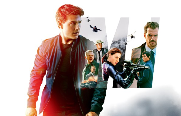 Картинка коллаж, белый фон, боевик, постер, Том Круз, персонажи, Tom Cruise, Саймон Пегг, Henry Cavill, Генри ...