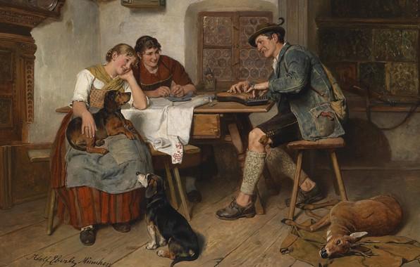 Картинка 1914, German painter, немецкий живописец, oil on canvas, Adolf Eberle, Адольф Эберле, Musikalische Unterhaltung auf …