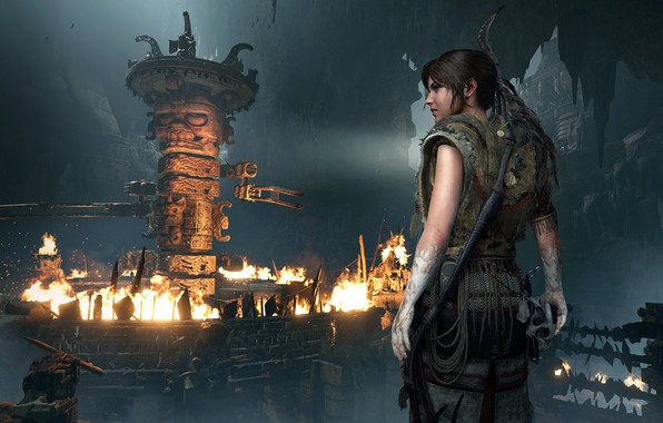 Картинка огонь, волосы, Tomb Raider, Лара Крофт, ловушки, Shadow of the Tomb Raider, грабница