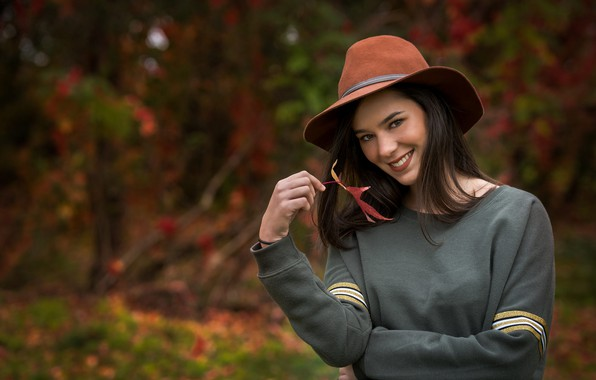 Картинка улыбка, Девушка, шляпа