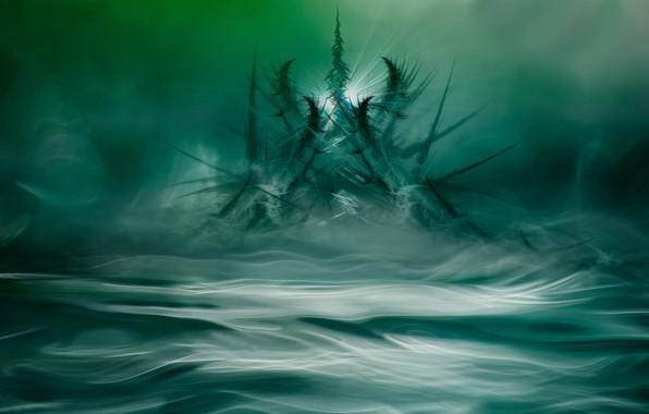 Картинка вода, свет, узор, дым, мороз, кристаллы