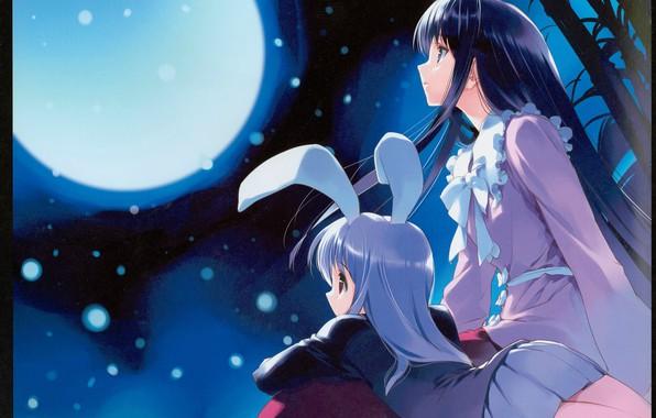 Картинка ночь, бамбук, бант, полнолуние, ушки, длинные волосы, art, боке, ueda ryou, лунный зайчик, две девочки, …
