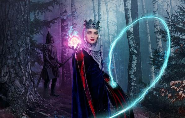 Картинка лес, взгляд, магия, корона, макияж, статуя, Екатерина Вилкова, Последний богатырь, княжна Варвара