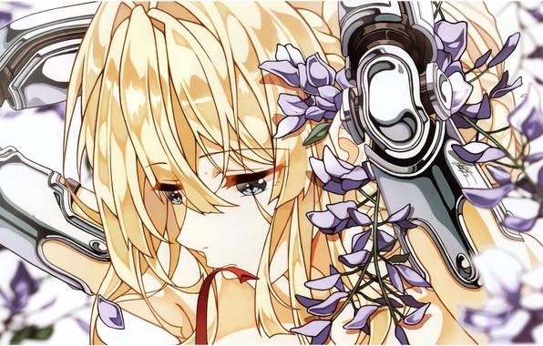 Картинка лицо, голубые глаза, грустная, фиалки, чёлка, руки за головой, железная рука, Violet Evergarden, by Cheese …