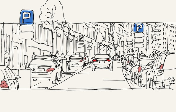 Картинка город, улица, арт