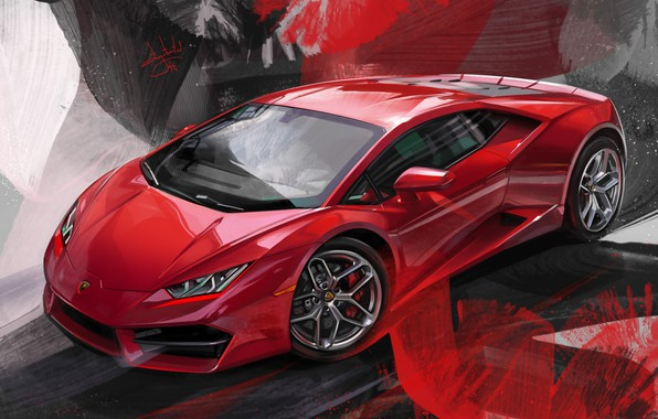 Картинка Red, Car, Illustration, Supercar, Lamborghini Huracan, Aleksandr Sidelnikov, red lambo