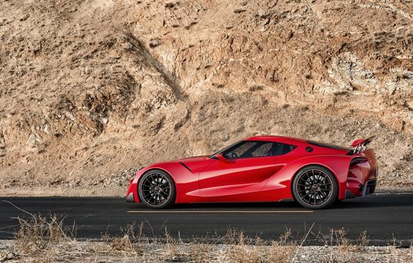 Картинка красный, скала, купе, профиль, Toyota, 2014, FT-1 Concept