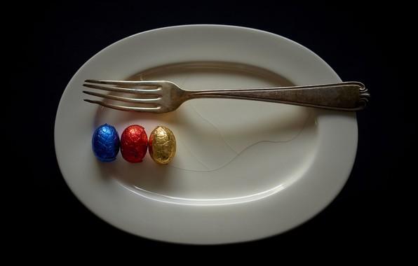 Картинка тарелка, вилка, яица, натурализм
