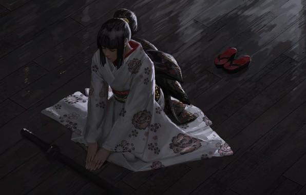 Картинка японка, медитация, кимоно, вид сверху, katana, сидит на полу, закрытые глаза, kimono, гета, by Guweiz