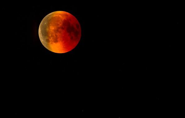 Картинка небо, ночь, луна, планета, спутник, красная, кровавая