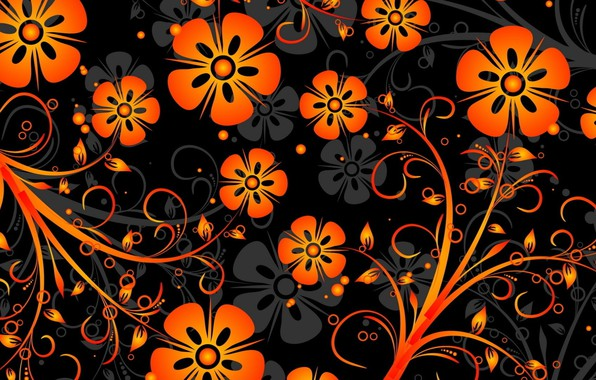 Картинка цветы, фон, узор, вектор, оранжевые