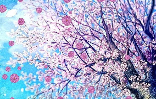 Картинка небо, цветы, рендеринг, фон, фантазия, дерево, ветви, весна, арт, картинка, цветущая сакура, весенний ветер