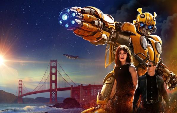 Картинка Girl, USA, Action, Car, Golden Gate Bridge, Clouds, Sky, Stars, Robot, Bridge, Alien, Night, Francisco, …