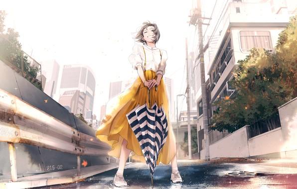 Картинка улыбка, столбы, дома, зонт, Япония, ограждение, девочка, полосатый, белая блузка, асфальтовая дорога, городская улица