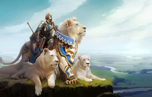 Картинка лев, фэнтези, арт, рыцарь, Александра Хитрова, GaudiBuendia