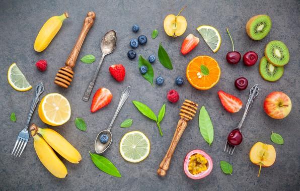 Фото обои ягоды, colorful, фрукты, fruit, berries