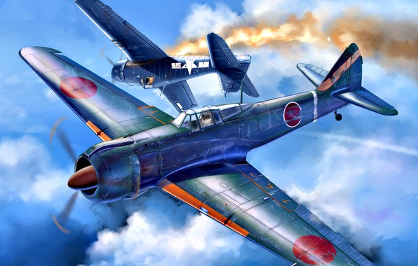 Картинка Kawasaki, палубный истребитель, Ki-100, WWII, Императорская армия Японии, F6F-5, F6F Hellcat, Радиальный двигатель, IJAAF