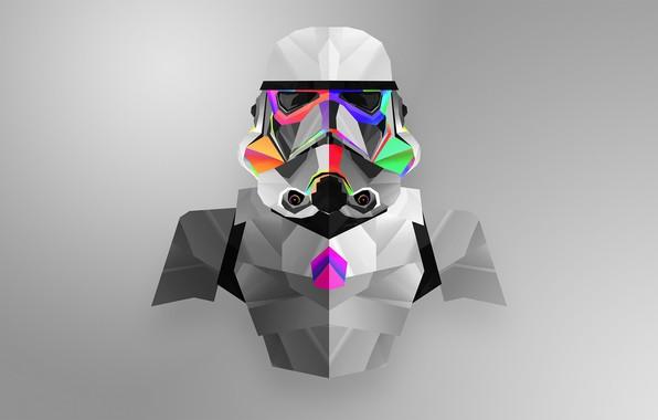 Картинка Минимализм, Star Wars, Шлем, Солдат, Штурмовик, Stormtrooper, Звездные Воины, Имперский штурмовик