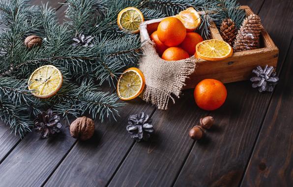 Картинка украшения, апельсины, Новый Год, Рождество, Christmas, wood, fruit, orange, New Year, мандарины, decoration, tangerine, Merry, …