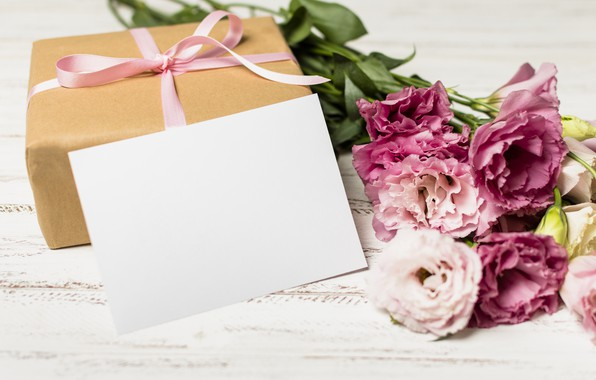 Картинка цветы, подарок, букет, wood, pink, flowers, romantic, эустома, gift box, eustoma