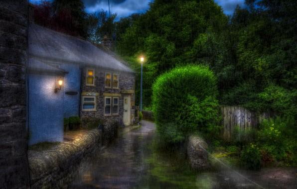 Картинка дождь, улица, England, High Peak District