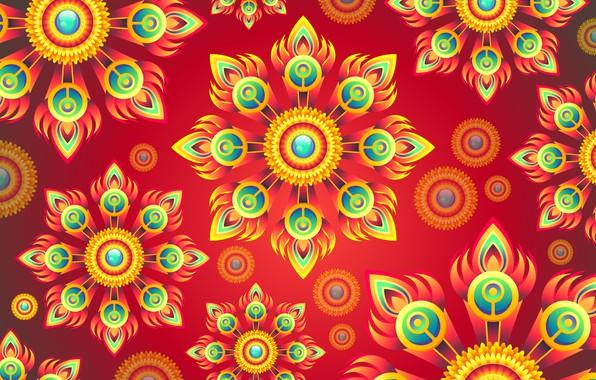 Картинка цветы, абстракция, фон, графика, текстура, орнамент, background, digital art