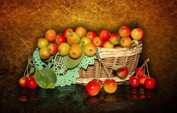 Картинка природа, настроение, яблоки, красота, корзинка, красивые, beautiful, китайка, beauty, harmony, обои на рабочий стол, полевые ...
