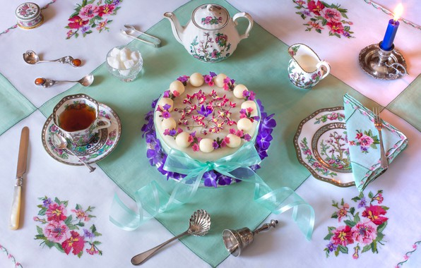 Картинка цветы, стиль, чай, свеча, тарелка, Пасха, нож, кружка, лента, чашка, торт, сахар, бант, скатерть, салфетка, …