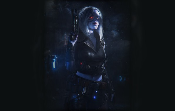 Картинка Девушка, Пистолет, Dark, Арт, Art, Киборг, Киберпанк, Cyberpunk
