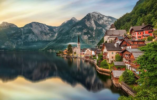 Картинка горы, озеро, дома, Австрия, Хальштатт