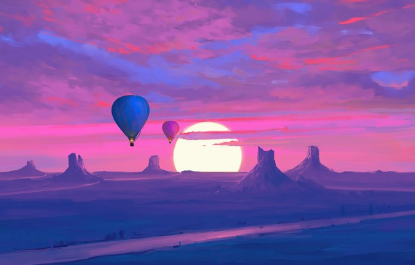 Картинка twilight, sky, desert, landscape, nature, sunset, art, mountains, clouds, sun, digital art, artwork, Hot air …
