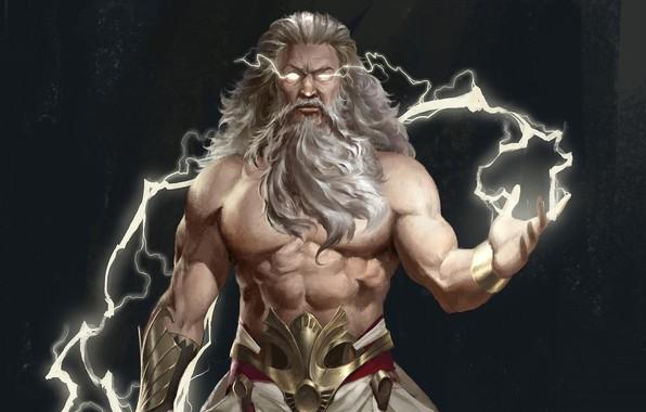Картинка молнии, lightning, god of thunder, Zeus Thundergod, Зевс Громовержец, Olympic god