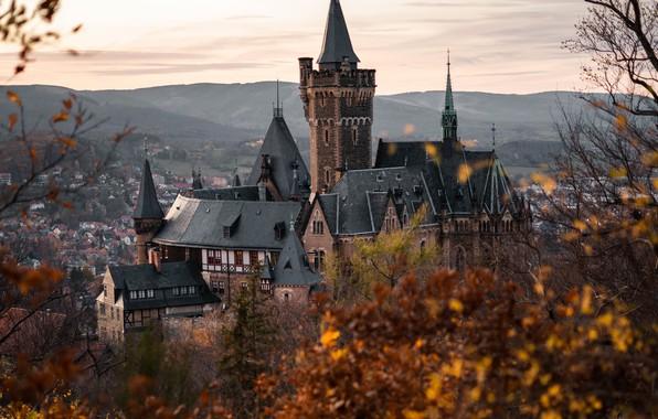 Картинка осень, пейзаж, горы, природа, город, замок, дома, Германия, Wernigerode, Вернигероде