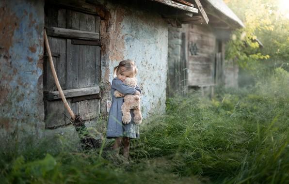 Картинка детство, дом, мишка, девочка
