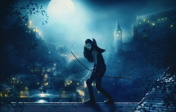 Картинка крыша, девушка, деревья, ночь, огни, луна, дома, лук, лучница, фэнтези, арт, эльфийка, стрелы, замки, Mehdi …