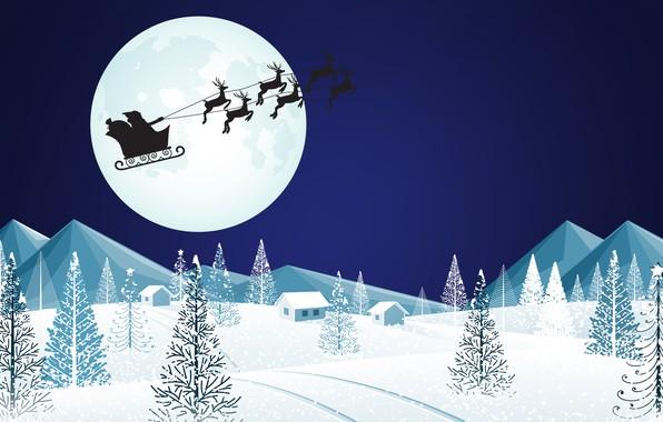 Картинка Луна, Рождество, Силуэт, Фон, Новый год, Праздник, Санта Клаус, Арт, Дед Мороз, Christmas, Art, Настроение, ...