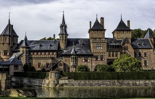 Картинка пруд, замок, Нидерланды, Голландия, Castle De Haar