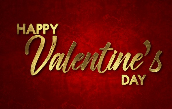 Картинка red, golden, красный фон, romantic, Valentine's Day, Happy, letters, День Святого Валентина
