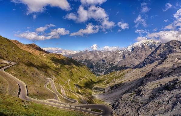 Картинка дорога, пейзаж, горы, каньон, панорама, серпантин, вид сверху