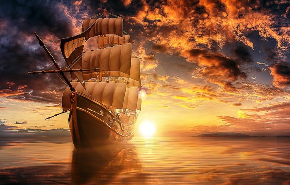 Картинка море, облака, свет, закат, отражение, рендеринг, корабль, парусник