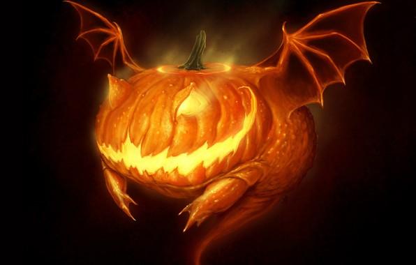 Картинка монстр, пасть, Halloween, ужас, Хэллоуин, светильник Джека, жуть, адская ухмылка, крылья летучей мыши, by Robpowell