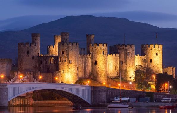Картинка мост, огни, башня, Уэльс, замок Конви