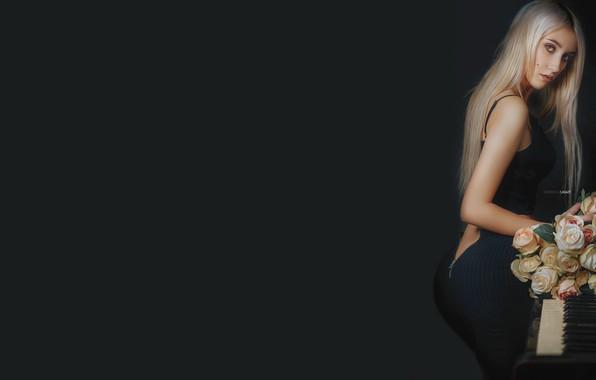 Картинка девушка, розы, букет, пианино, Alexander Drobkov-Light, Кристина Ладыко