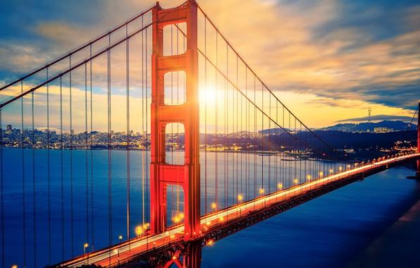 Картинка city, lights, USA, Golden Gate Bridge, sky, sea, landscape, bridge, sunset, California, clouds, San Francisco, …